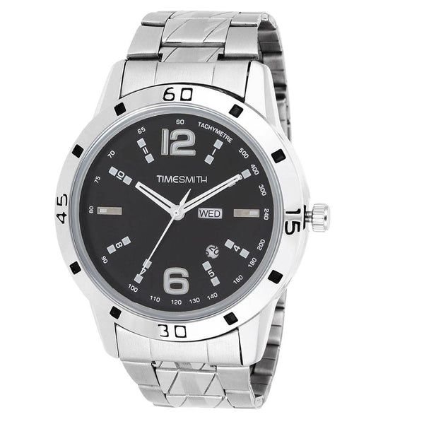 Black Dial Silver Stainless Steel Metal Strap Genuine Premium Branded Day Date Analog Watch for Men