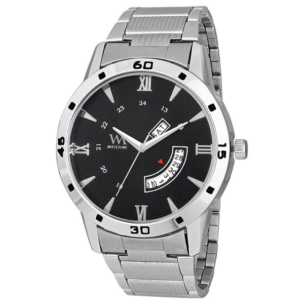 Black Dial With Silver Stainless Steel Strap Men's Watch