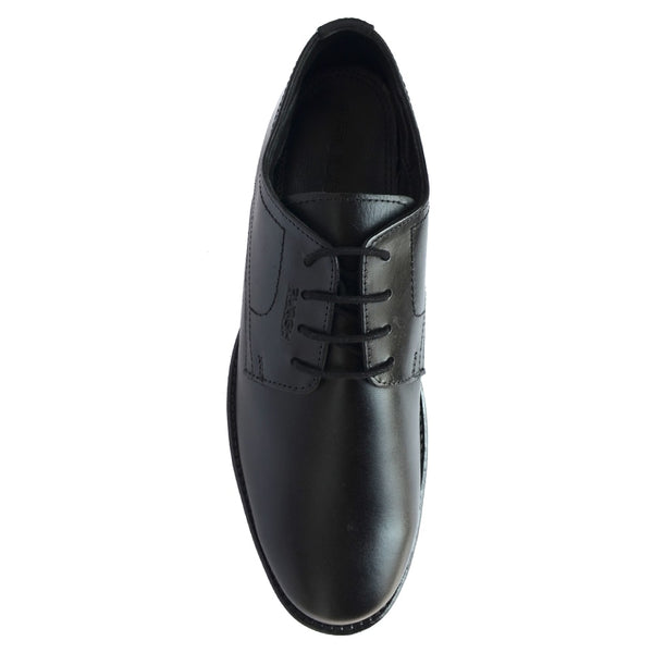 Black Formal Leather Lace-Up Derby Shoes