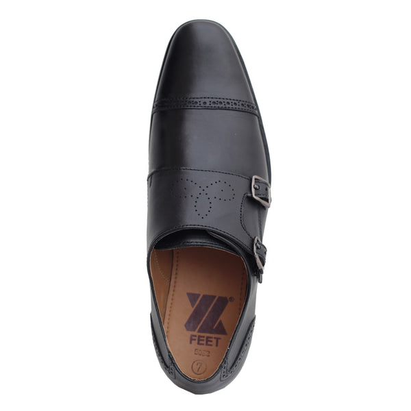 Black Genuine Leather Designer Monk Shoes