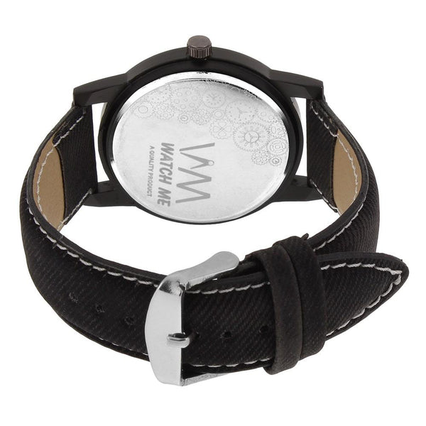 Black Leather Strap And Multi-Colour Dial Watch for Men