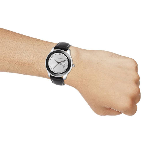 Black Leather Strap With White & Black Dial Watch for Men
