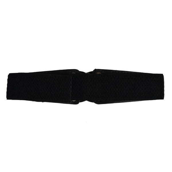 Black Synthetic Leather Women's Belt
