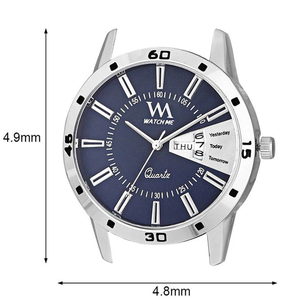 Blue Dial Silver Stainless Steel Watch For Men