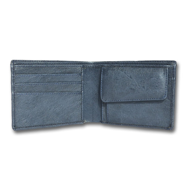 Blue Leather Two-Fold Wallet for Men