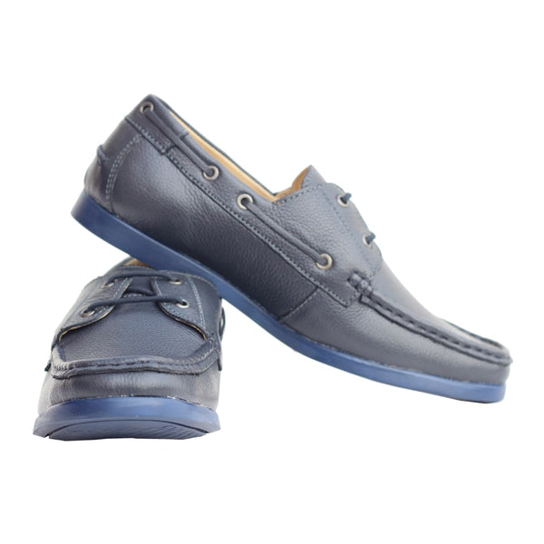 Blue Milled Leather Derby shoes