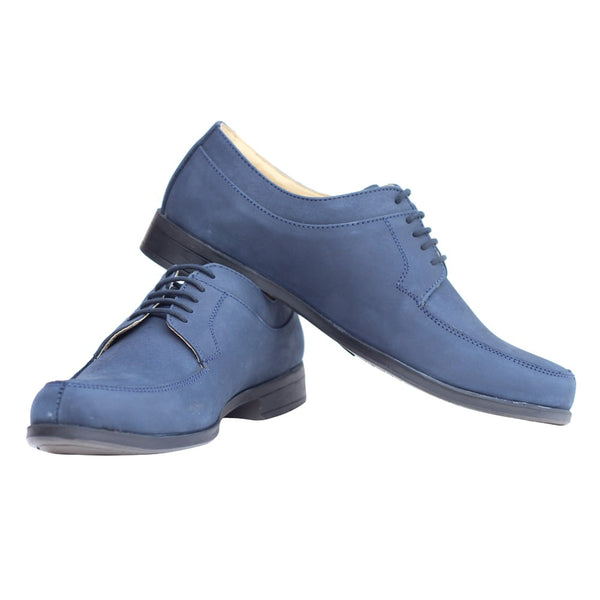 Blue Suede Leather Derby Shoes
