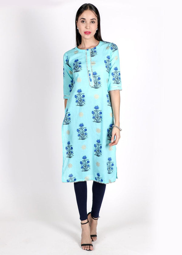 Blue and charcoal grey Floral Print Straight kurta