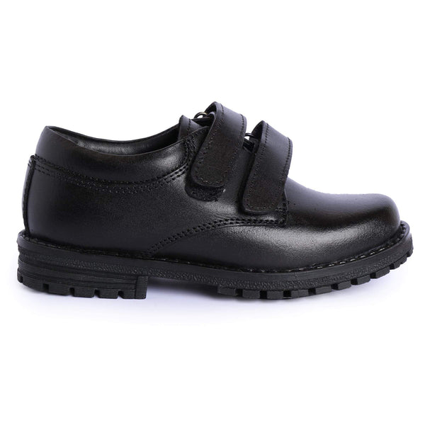Boys Black Leather Double Strap School Shoes