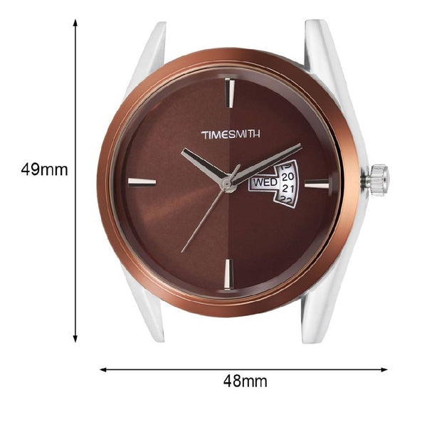 Brown Dial Brown Leather Strap Genuine Premium Branded Day Date Analog Watch for Men