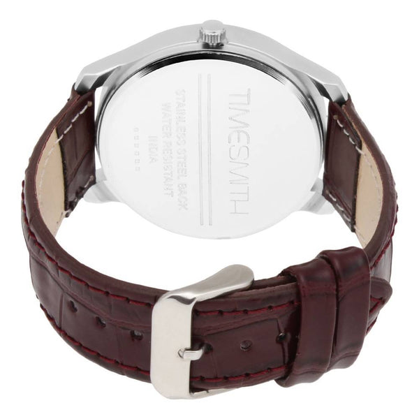 Brown Leather Belt Watch With Multi-Colour Dial