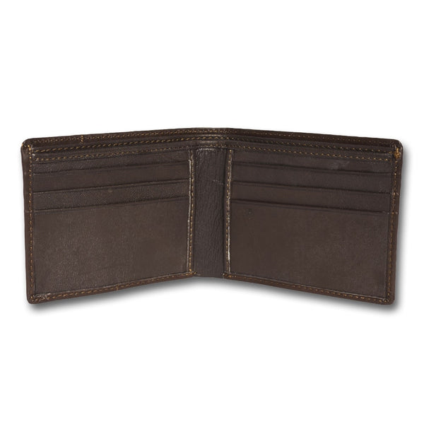 Brown Leather Two-Fold Wallet for Men
