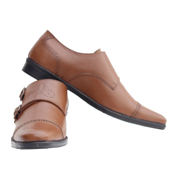 Tan Pure Leather Monk Shoes