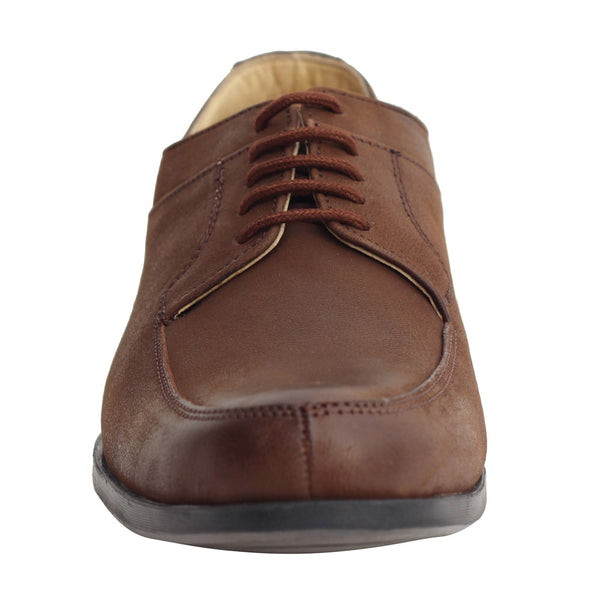Brown Genuine Leather Derby Lace-up Shoes