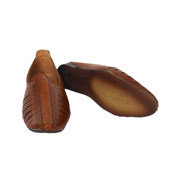 Brown Synthetic Leather Juttis/Sandals for Men
