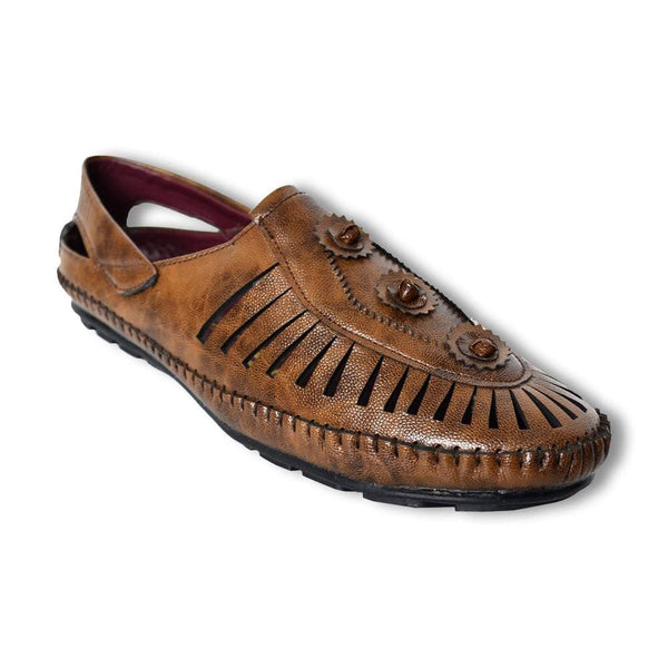 Men Coffee Brown Perforated Shoe-Style Sandals