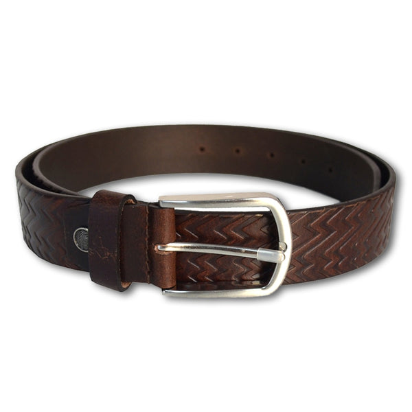 Brown Textured Leather Belt for Men