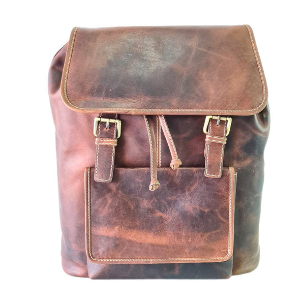 Twin-Grab Handle Leather Laptop Bag