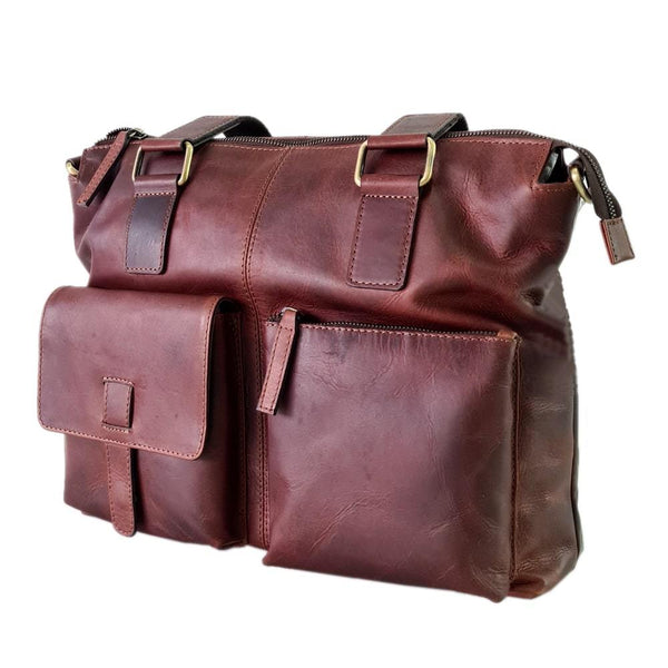 Tan Handcrafted Leather Laptop Bag