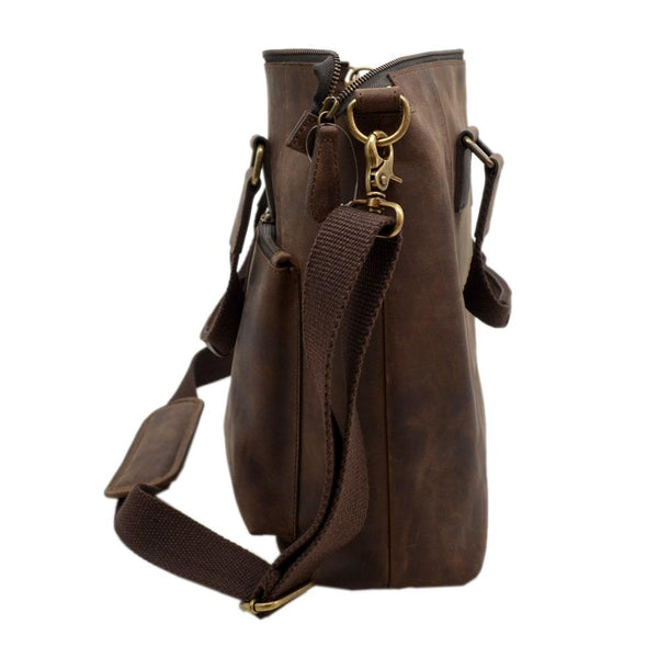 Crazy Horse Buff Leather Brown Laptop Bag