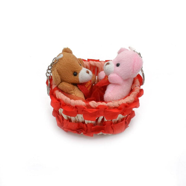 Cute Gift Basket with 2 teddy bear couple combo
