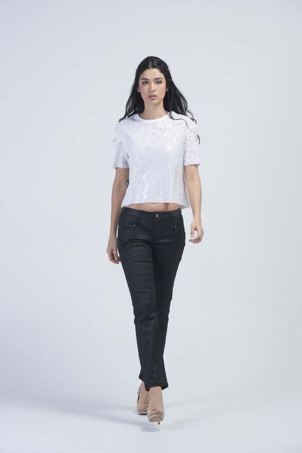 Nix Leather Look Skinny Jeans - Charcoal Black - Women Jeans - yz-buyer.myshopify.com