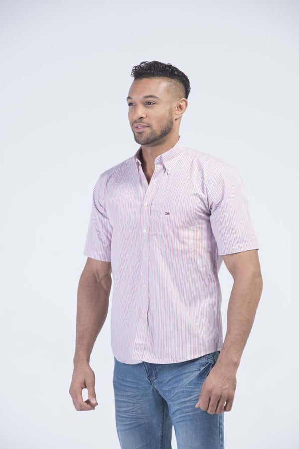 Top American Brand OEM Striped Short Sleeve Logo Oxford Shirt Red White Grey - Men Shirts - yz-buyer.myshopify.com