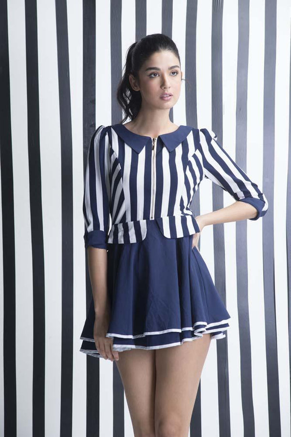 Loluntie Navy Striped Contemporary Dress - Women Dresses - yz-buyer.myshopify.com
