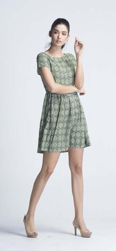 Apple Green 'Geometric Edge & Miss' Skater Dress - Women Dresses - yz-buyer.myshopify.com