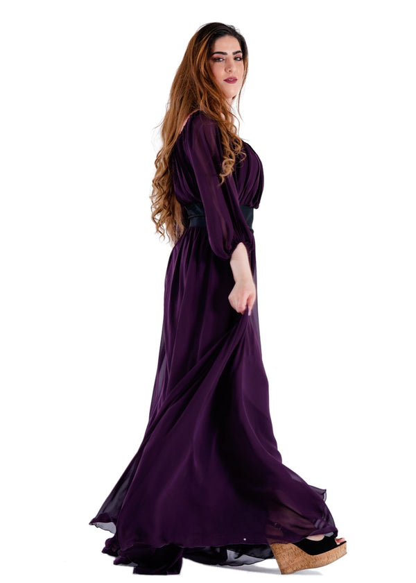Full Sleeves Wine Color Maxi