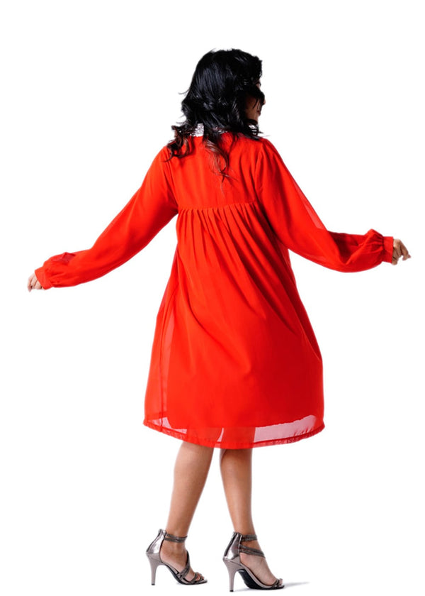 Ladies Full Sleeves Red Multi Dress