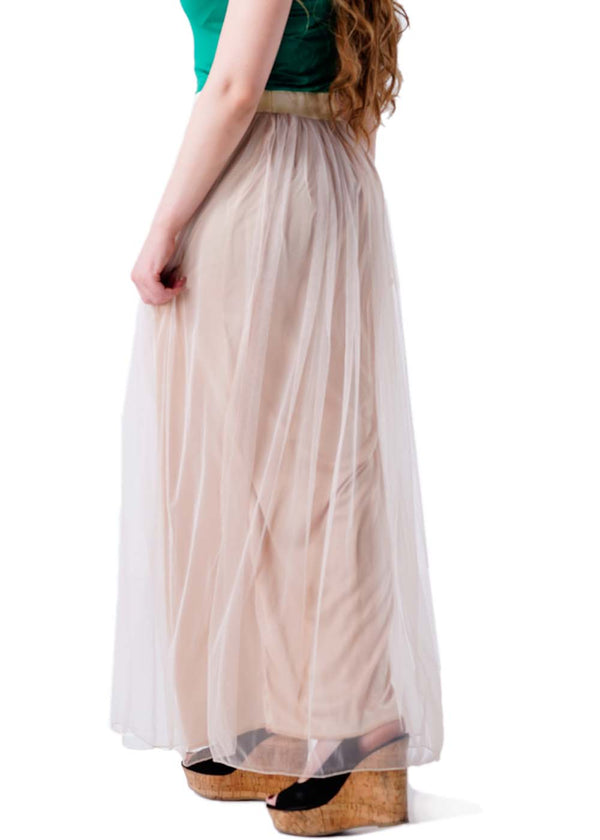 Casual Pleated Long Tulle Skirt - Beige