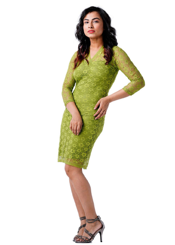 Ladies Three Quarter Sleeves Olive Green Dress