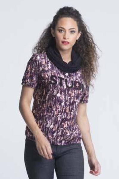 Cowl Neck Short Sleeve Velvet T-Shirt - Wine color with lady prints - Women Tops - yz-buyer.myshopify.com