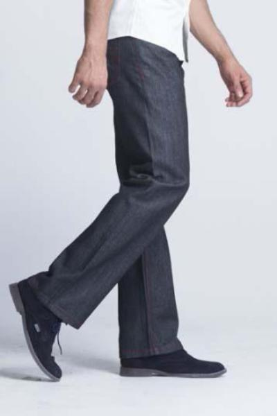 Kayden.K California Loose Fit Jeans - Black with Red Threading - Mens Jeans - yz-buyer.myshopify.com