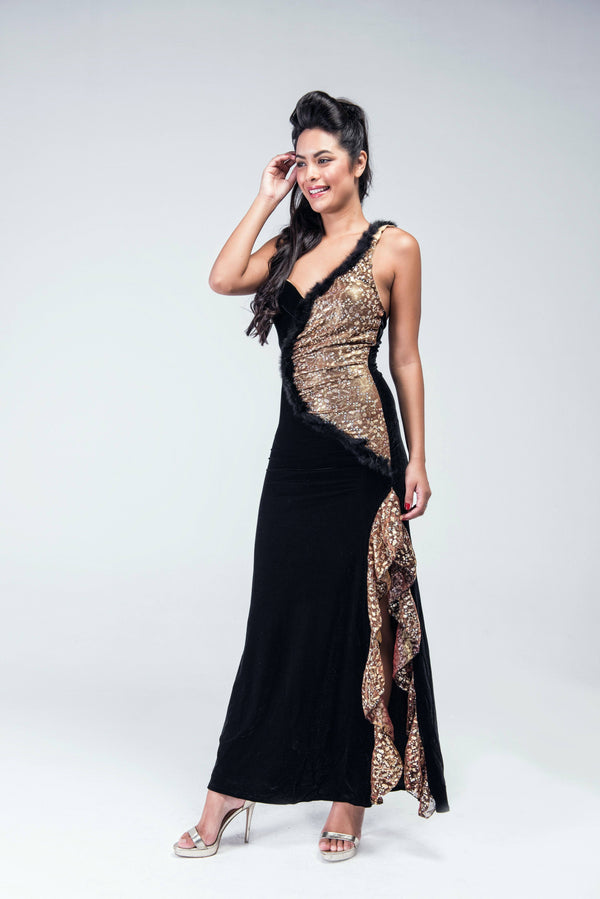 Old Glamour Fur & Shimmer  Side slit Evening Gown - Women Dresses - yz-buyer.myshopify.com