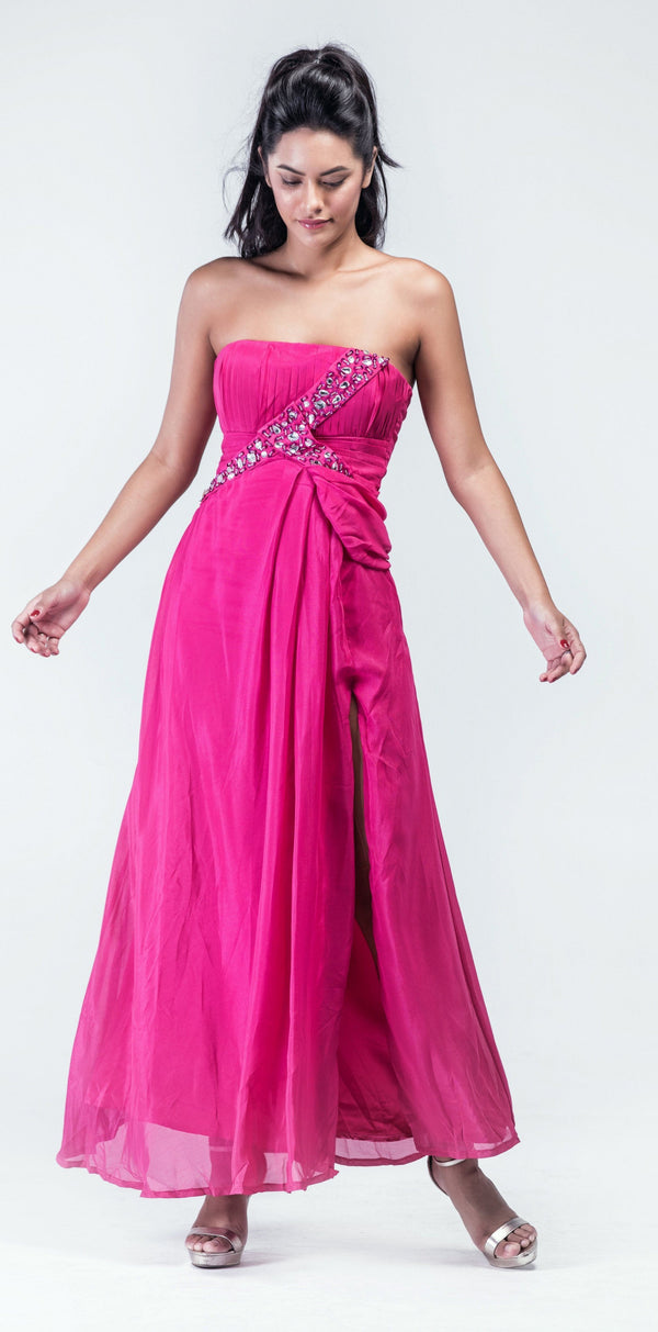 Fuscia Pink Pleated Stone Work Corset Evening gown - Women Dresses - yz-buyer.myshopify.com