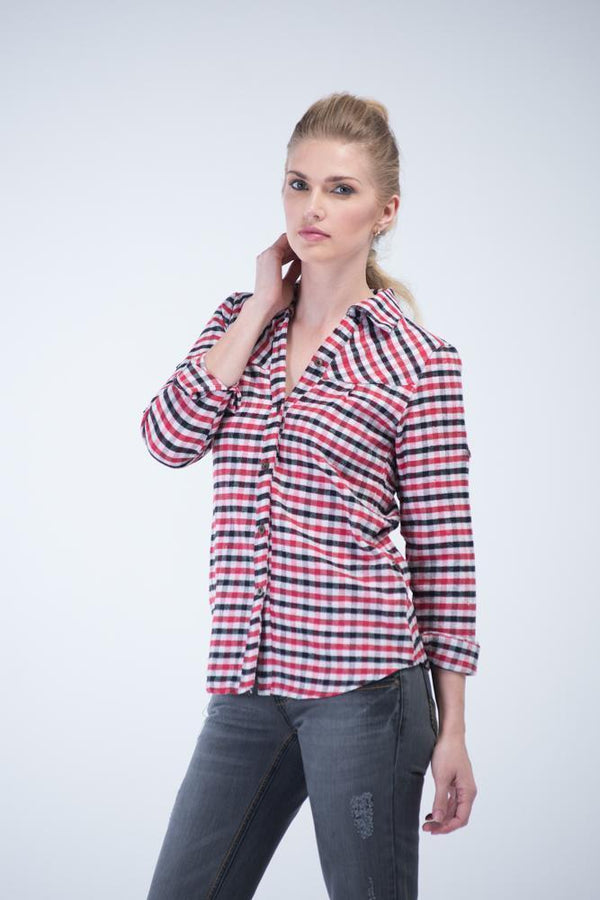 Full sleeve multi-color square checkered shirt - Black, White and Red - Women Shirts - yz-buyer.myshopify.com
