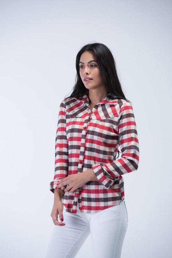Full Sleeve Square Check Flannel Shirt - Red, Brown and Ivory White - Women Shirts - yz-buyer.myshopify.com
