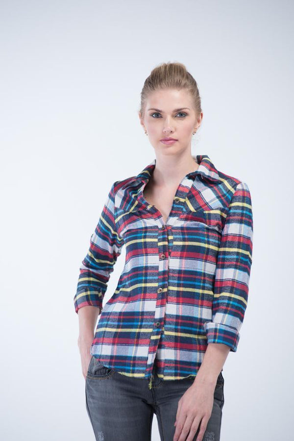 Full Sleeve Ex-Boyfriend Checkered Flannel Shirt - Multi-color with blue shades - Women Shirts - yz-buyer.myshopify.com