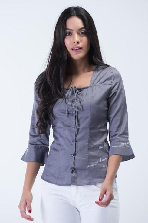 Top French Brand OEM Button shirt with Sweet-Heart neck design and bell sleeves -  Charcoal Grey - Women Shirts - yz-buyer.myshopify.com