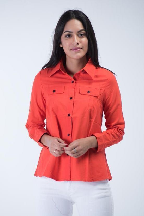 Long sleeve Denim shirt with dual front pockets - Marmalade Orange - Women Shirts - yz-buyer.myshopify.com
