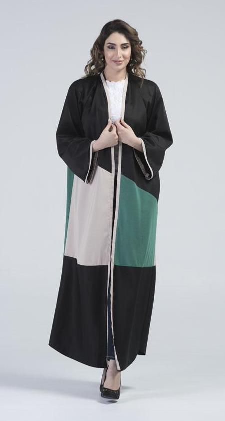 Nahla Black Abaya with Green & Beige Panel