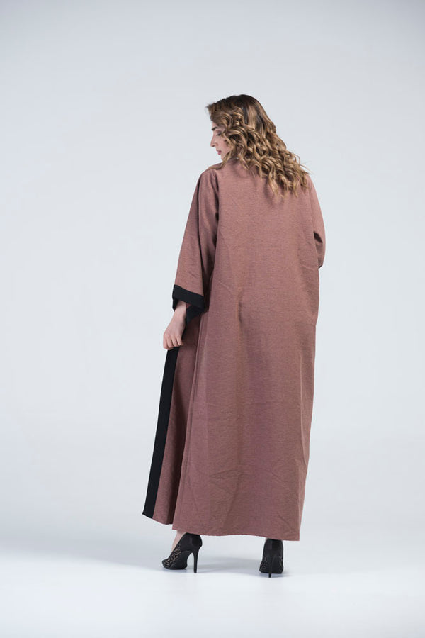 Nahla Light Brown & Black Border Abaya