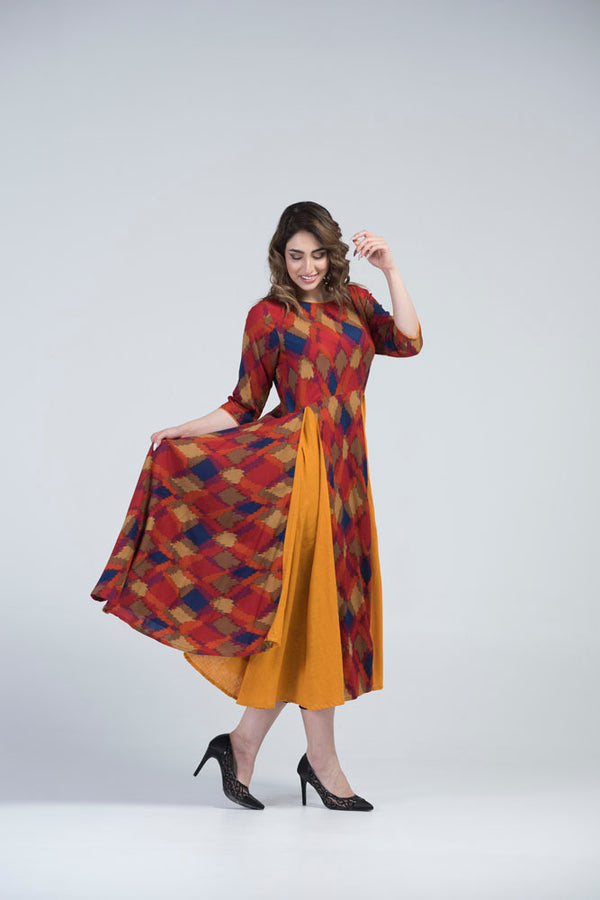 YZBuyer  Multi Colour Kite Print Yellow & Red Dress