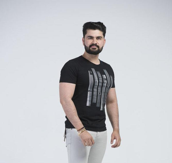Casual Dress Black Round Neck Men's  T-Shirt