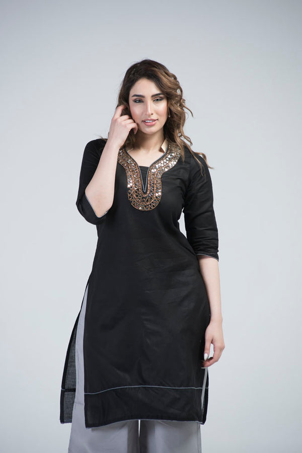 YZBuyer Black Gota Work Dress