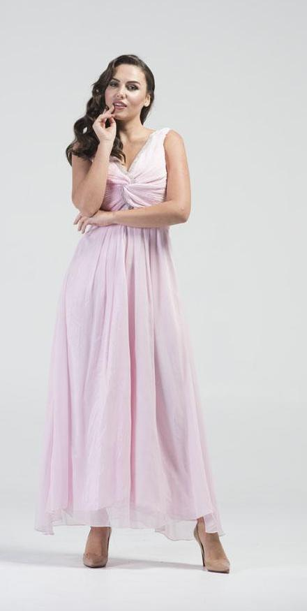 Powder Pink Empire Waist Maxi Gown