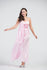Carnation Pink Side Overlay Evening Gown