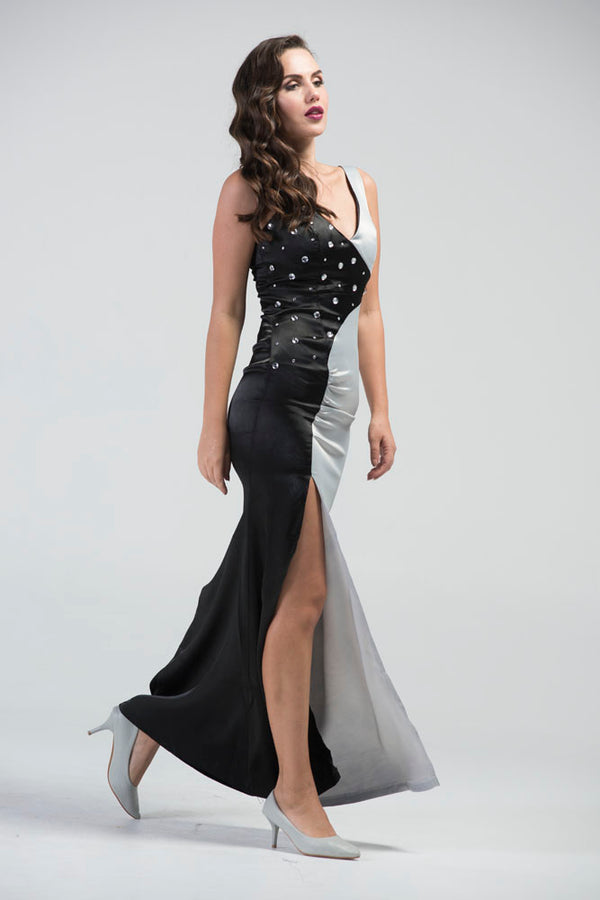 Qi Gong Zhu Monochrome Evening Gown